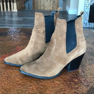 {Steve Madden} Patricia Camel Suede Booties. 7.5.